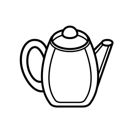 non alcoholic: line drawing teapot on white background - vector kitchenware illustartion Illustration