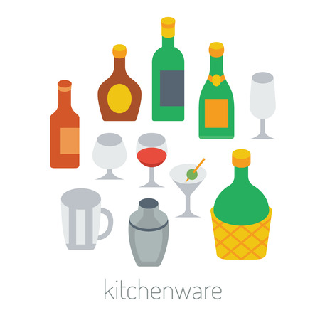 woven label: kitchen items  - kitchenware colorful vector flat set