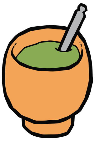 argentinean: Cup for mate - gourd and bombilla - vector drawing. Set of kitchen items