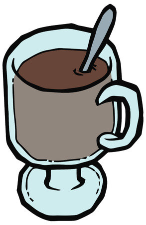 faience: Glass cup of coffee and spoon vector illustration. Set of kitchen items Illustration