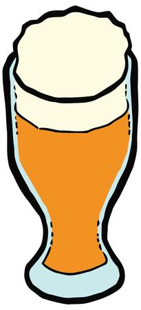 oktoberfest background: Glass of beer vector illustration. Set of kitchen items Illustration