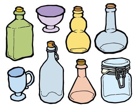Bottiglia Di Vetro Blu Con Il Disegno Di Sughero Vettore. Set Di ...