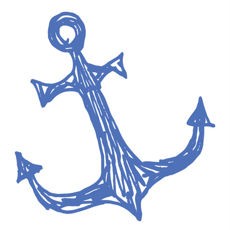 anchored: Sea anchor - stylized vector illustration