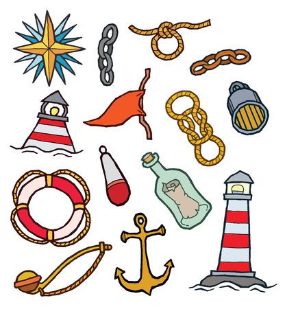 fife: Marine symbolic objects - vector icon set Illustration