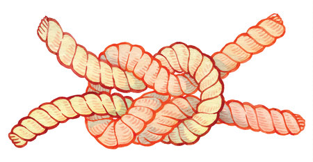 painted watercolor hand-drawing knot - bright rope with knots - vector elements for design