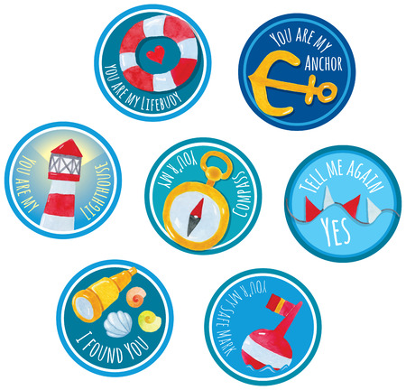 party favors: Sticker Labels marine theme watercolor hand drawing - perfect addition to wedding or party favors