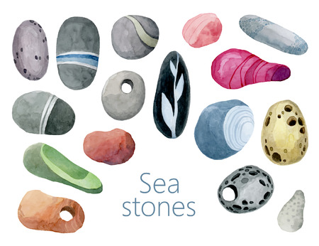 striated: Set of bright colored sea stones pebbles vector. Bright multicolored watercolors stones.