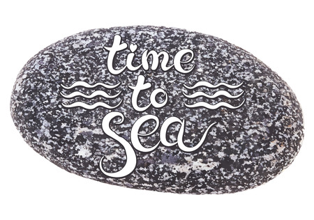 speckled: Vector calligraphic inscription on sea pebbles background - TIME TO SEA - poster or greeting card - exclusive hand written vector lettering collection Illustration