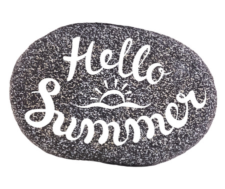 exclusive collection: Vector calligraphic inscription on sea pebbles background - HELLO SUMMER - poster or greeting card - exclusive hand written vector lettering collection