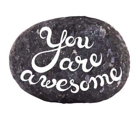 exclusive collection: Vector calligraphic inscription on sea pebbles background - YOU ARE AWESOME  poster or greeting card - exclusive hand written vector lettering collection Illustration