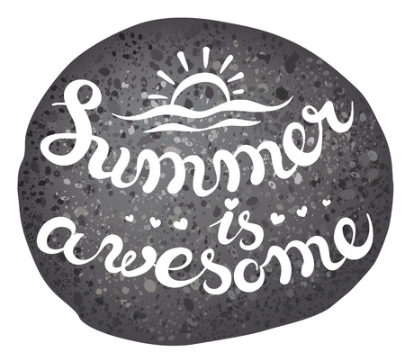 pebble: vector illustration - sea pebble with exclusive hand drawing lettering - summer sea theme