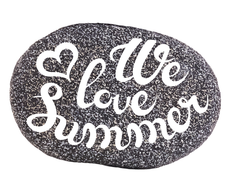 speckled: Vector calligraphic inscription on sea pebbles background - WE LOVE SUMMER- poster or greeting card - exclusive hand written vector lettering collection