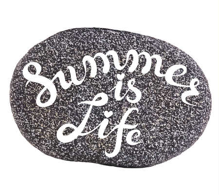 exclusive collection: Vector calligraphic inscription on sea pebbles background - SUMMER IS LIFE - poster or greeting card - exclusive hand written vector lettering collection