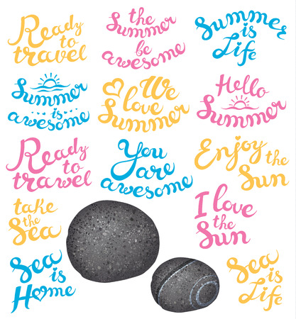 speckled: Summer sea theme - exclusive hand drawing lettering vector Illustration