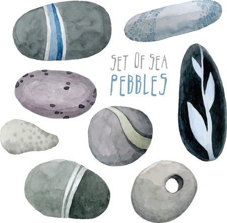 set of vector watercolor sea pebbles