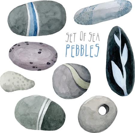 set of vector watercolor sea pebbles