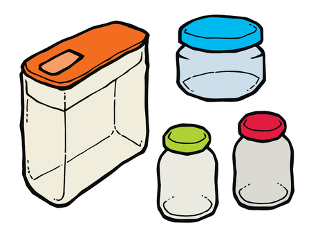 small group of objects: Glass kitchen box vector illustration. Set of kitchen items