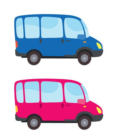 mini bus: bright mini bus car in cartoon style - vector