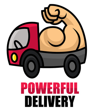 breakdown truck: Powerful delivery icon - sturdy machine with strong muscles - cartoon vector illustration for sighn or logo template Illustration