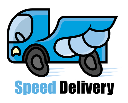 breakdown truck: High-speed blue machine with strong wings - Expressway delivery icon - cartoon vector illustration for sighn or logo template