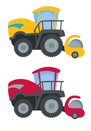 backhoe: bright tractor with backhoe in cartoon style vector illustration