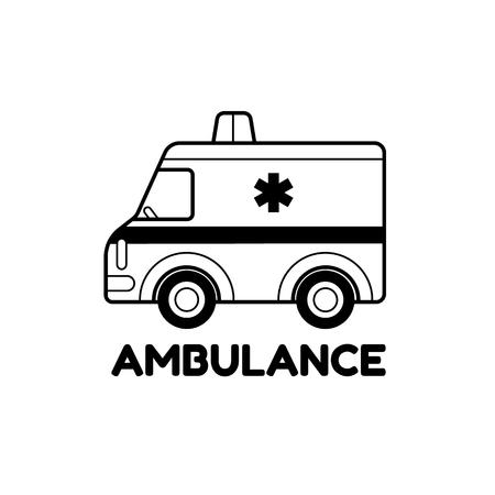 ems: Cute cartoon stylized ambulance car  - vector illustration