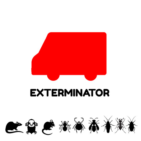 housefly: Exterminator van icon logo template Illustration