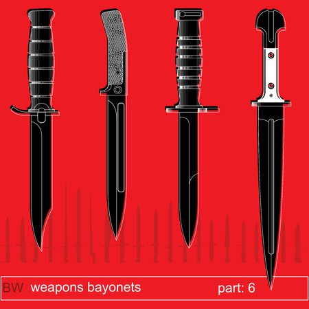 bayonet: bayonets and tactical knives part 6. equipment of different armies in the world. graphical vector set on red background