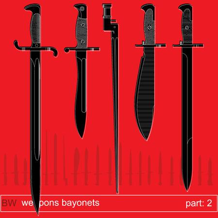 fiambres: bayonetas y cuchillos tácticos parte 2. equipos de diferentes ejércitos del mundo. conjunto gráfica vectorial sobre fondo rojo Vectores
