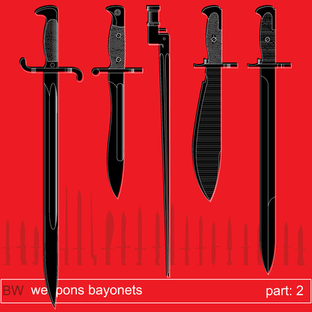 tactical: bayonets and tactical knives part 2. equipment of different armies in the world. graphical vector set on red background Illustration