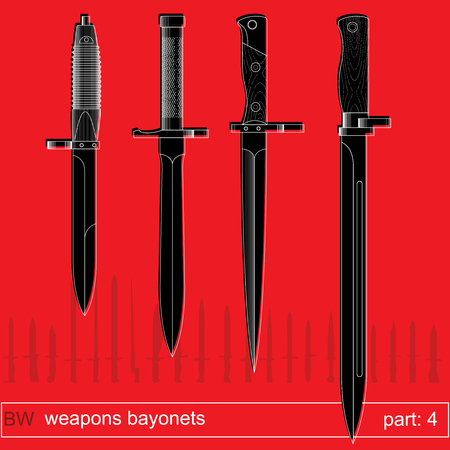 cold war: bayonets and tactical knives part 4. equipment of different armies in the world. graphical vector set on red background