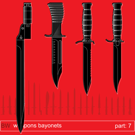 tactical: bayonets and tactical knives part 7. equipment of different armies in the world. graphical vector set on red background Illustration