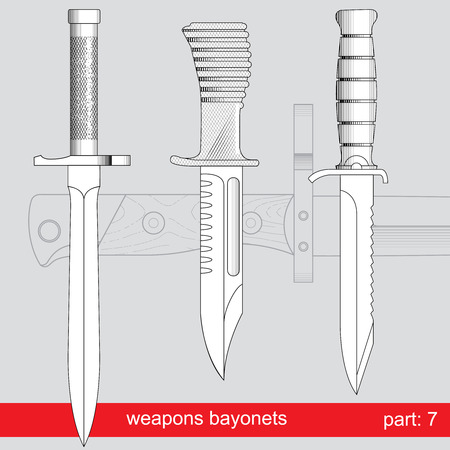 fiambres: bayonetas y cuchillos cuerpo técnico. equipos de diferentes ejércitos del mundo. conjunto gráfica vectorial sobre fondo rojo Vectores