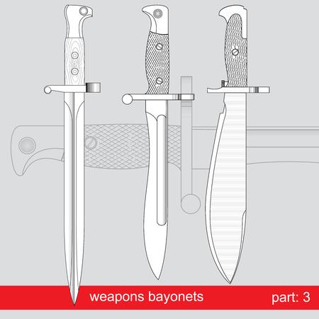 fiambres: bayonetas y cuchillos cuerpo t�cnico. equipos de diferentes ej�rcitos del mundo. conjunto gr�fica vectorial sobre fondo rojo Vectores