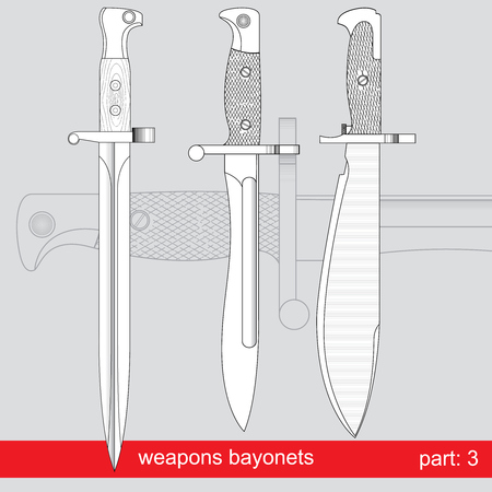 dirk: bayonets and tactical knives set. equipment of different armies in the world. graphical vector set on red background
