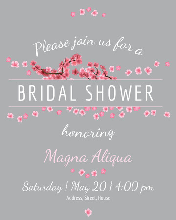 Invitation bridal shower card with sakura vector template - for invitations, flyers, postcards, cards and so on 向量圖像