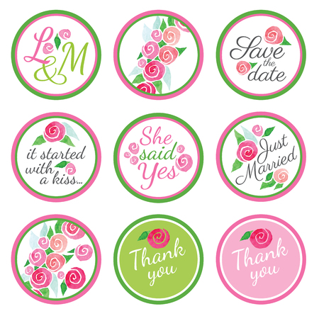 favors: Personalized Candy Sticker Labels with rose - perfect addition to wedding or party favors