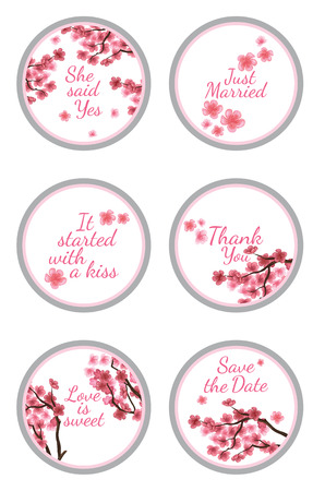favors: Personalized Candy Sticker Labels with sakura - perfect addition to wedding or party favors