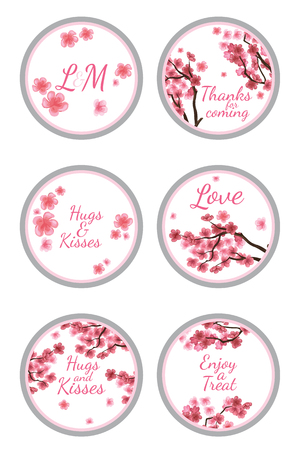 party favors: Personalized Candy Sticker Labels with sakura - perfect addition to wedding or party favors