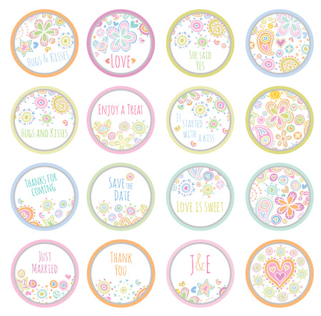 favors: personalized candy sticker labels big set - perfect addition to wedding or party favors