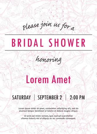 Bridal shower invitation template with rowan twigs and berries bridal shower invitation template with rowan twigs and berries vector you can use it for filmwisefo