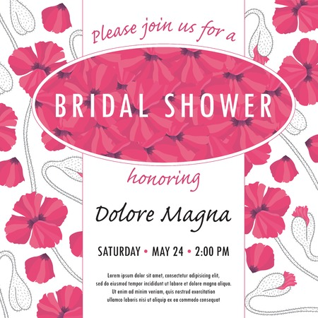 Bridal shower invitation template with delicate poppy buds and flowers vector. You can use it for invitations, flyers, postcards, cards and so on.
