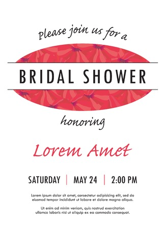 Bridal shower invitation with delicate poppy buds and flowers vector. You can use it for invitations, flyers, postcards, cards and so on.