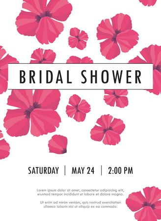 background design: Bridal shower invitation with delicate poppy buds and flowers vector. You can use it for invitations, flyers, postcards, cards and so on.