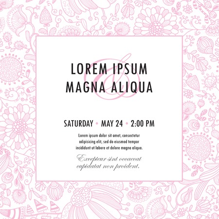 Invitation template with floral ornament vector. You can use it for invitations, flyers, postcards, cards and so on.