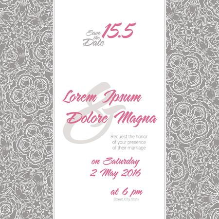 vintage pattern background: Invitation wedding card with Lace background vector template - for invitations, flyers, postcards, cards and so on