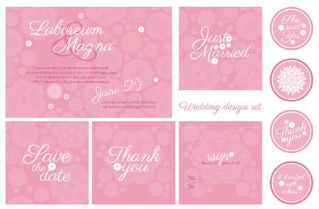 Invitación de boda diseño de plantilla de conjunto de vectores - para las invitaciones, folletos, tarjetas postales, tarjetas, etc.