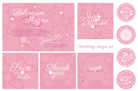 Invitation wedding design set vector template - for invitations, flyers, postcards, cards and so on