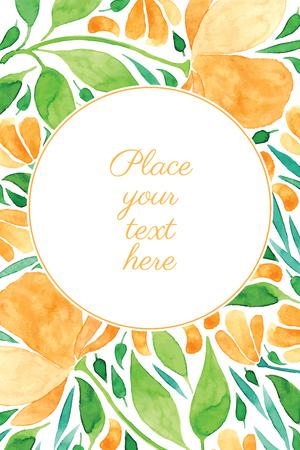 水彩画とカード花フレーム ベクトル テンプレート - 招待状、チラシ、はがき、カードなど  イラスト・ベクター素材