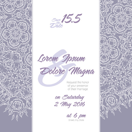 background patterns: Invitation wedding card with Lace background vector template - for invitations, flyers, postcards, cards and so on
